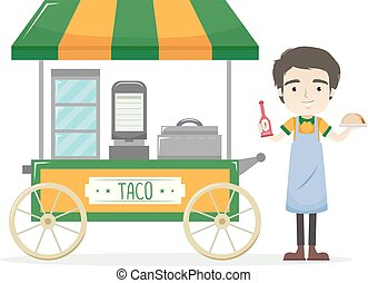 άντραs , πωλητής , κάρο , εικόνα , taco
