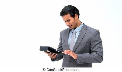 άντραs , χρησιμοποιώνταs , δικός του , ηλεκτρονικός υπολογιστής , δισκίο