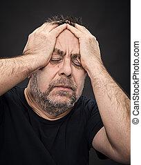 άντραs , headache., χέρι , κλειστός , ζεσεεδ