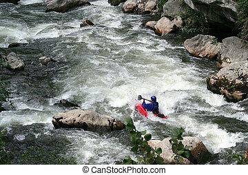 άντραs , kayaking , κάτω , καταρράκτης