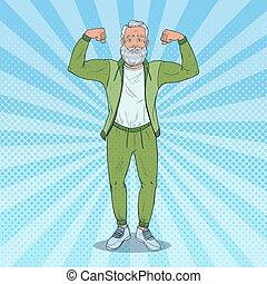άντραs , lifestyle., τέχνη , υγιεινός , muscles., εκδήλωση , εικόνα , μικροβιοφορέας , κρότος , ώριμος , grandfather., δυνατός , αρχαιότερος , ευτυχισμένος