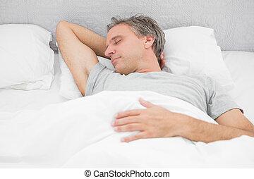 άντραs , soundly, κοιμάται