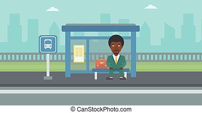 άντραs , stop., αναμονή , λεωφορείο