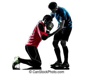άντρεs , παίχτης , περίγραμμα , ποδόσφαιρο , αγώνας , τερματοφύλακας , δυο