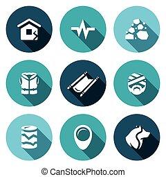 άποψη , καταπίπτω , θέτω , icons., σεισμός , εκκένωση ,...
