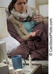 άρρωστα , γυναίκα , γρίπη , ανιαρός , κρεβατοκάμαρα