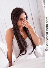 άρρωστα , γυναίκα , γρίπη , κρύο , κρεβάτι