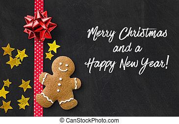 άρτος αρωματισμένος με τζίντζερ , χριστουγεννιάτικη κάρτα , άντραs