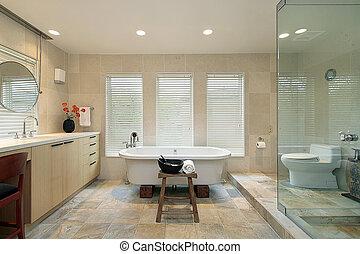 άρχονταs , μπάνιο , με , γυαλί , μπόρα