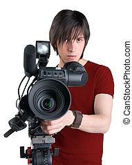 άσπρο , απομονωμένος , φόντο , χειριστής κάμερας