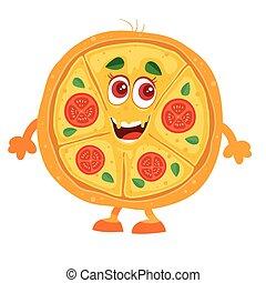 άσπρο , αστείος , πίτα με τομάτες και τυρί , φόντο , χαρακτήρας