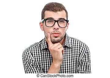άσπρο , γυαλιά , απομονωμένος , άντραs , ωραία