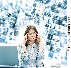 άσπρο , γυναίκα , γραφείο , επιχείρηση , απομονωμένος