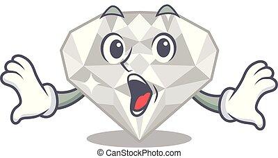 άσπρο , διαμάντι , απομονωμένος , έκπληκτος , γελοιογραφία