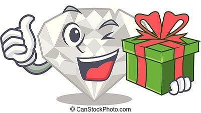 άσπρο , διαμάντι , απομονωμένος , δώρο , γελοιογραφία