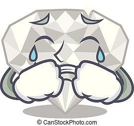άσπρο , διαμάντι , απομονωμένος , κλαίων , γελοιογραφία