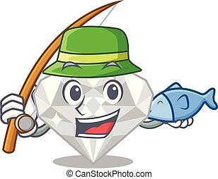 άσπρο , διαμάντι , ψάρεμα , απομονωμένος , γελοιογραφία