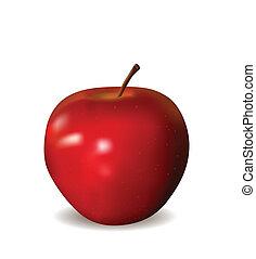 άσπρο , μήλο , κόκκινο , απομονωμένος