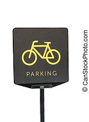 άσπρο , πάρκινγκ , ποδήλατο , φόντο , σήμα