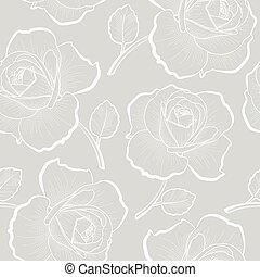 άσπρο , περίγραμμα , τριαντάφυλλο , επάνω , γκρί , seamless, πρότυπο