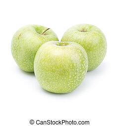άσπρο , πράσινο , απομονωμένος , φόντο , μήλο