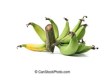 άσπρο , πράσινο , μπανάνες , φόντο , απομονωμένος
