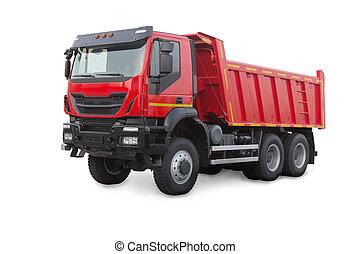 άσπρο , φορτηγό , απομονωμένος , σκουπιδότοπος