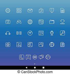 άσπρο , smartphone, apps, γραμμή , απεικόνιση