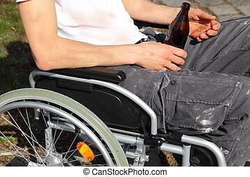 άστεγος άνθρωπος , μέσα , ένα , αναπηρική καρέκλα