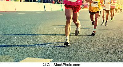 άστυ ακόλουθοι , αγώνας , πόδια , τρέξιμο , μαραθώνας ,...