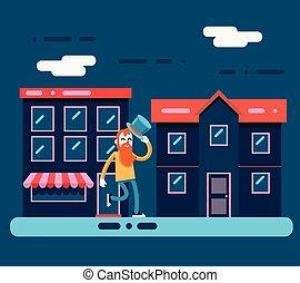 άστυ αστικός δρόμος , διαμέρισμα , χαρακτήρας , εικόνα , βόλτα , geek , μικροβιοφορέας , μανιώδης της τζάζ , φόντο , νύκτα , σχεδιάζω , χαμογελαστά , γελοιογραφία , ευτυχισμένος
