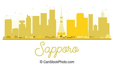 άστυ γραμμή ορίζοντα , χρυσαφένιος , sapporo, silhouette.