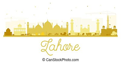 άστυ γραμμή ορίζοντα , lahore , χρυσαφένιος , silhouette.