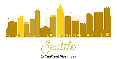 άστυ γραμμή ορίζοντα , seattle , χρυσαφένιος , silhouette.