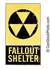 άσυλο , πυρηνικός , απομονωμένος , σήμα , fallout , άσπρο