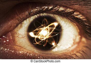 άτομο , μάτια , σωματίδιο