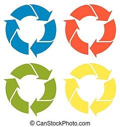 έγχρωμος , ανακύκλωση , - , σήμα , τέσσερα , μπογιά