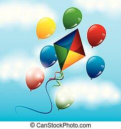 έγχρωμος , ιπτάμενος , ουρανόs , ευφυής , μπαλόνι , χαρταετόs