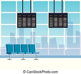 έδρα , αλεξήνεμο , αίθουσα αναμονής , αεροδρόμιο