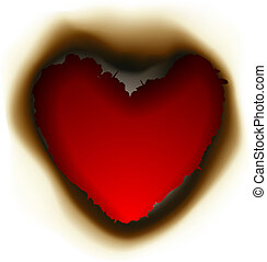 έκαψα , τρύπα , σε φόρμα , από , καρδιά