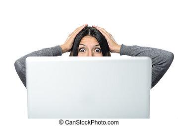 έκπληξη , γυναίκα , έκφραση , του προσώπου , ηλεκτρονικός υπολογιστής