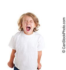 έκφραση , άσπρο , σκούξιμο , παιδιά , παιδί