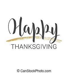 έκφραση ευχαριστίων , ευτυχισμένος , γράμματα , day., illustration., μικροβιοφορέας , handwritten