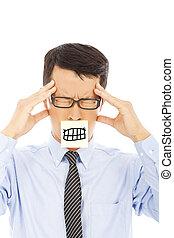 έκφραση , θυμωμένος , επιχειρηματίας , πονοκέφαλοs , αυτοκόλλητη ετικέτα