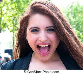 έκφραση , τρελός , γυναίκα , σκούξιμο , νέος