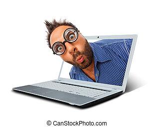 έκφραση , laptop., έκπληκτος , άντραs
