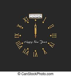 έμβλημα , χαιρετισμός , ρωμαϊκός , διακόσμηση , χρυσαφένιος , ο ενσαρκώμενος λόγος του θεού , ευτυχισμένος , ημερολόγιο , 2020, σκοτάδι , σχεδιάζω , αριθμοί , φόντο , αεροπόρος , αγαπητέ μου άπειρος , ή , δίσκοs τηλεφώνου , ρολόι , έτος , βέλος , στοιχείο , ρυθμός , κάρτα , αφίσα