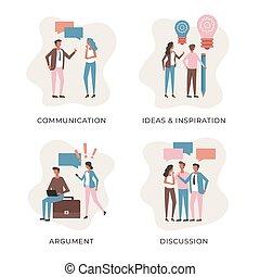 έμπνευση , αντίληψη , διαμέρισμα , αρμοδιότητα διευκρίνιση , concepts., επικοινωνία , συζήτηση , set., μοντέρνος , μικροβιοφορέας , άνθρωποι , επιχείρημα , ακόλουθοι.