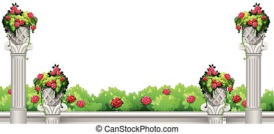 έμπροσθεν μέρος , θάμνοs , λουλούδι , σκηνή