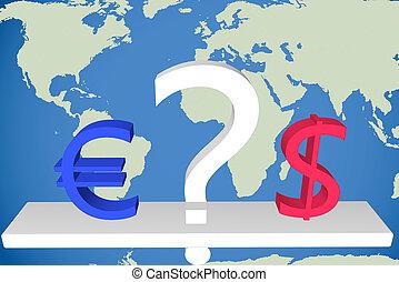 έναντι , ερώτηση , euro δολάριο , σημαδεύω